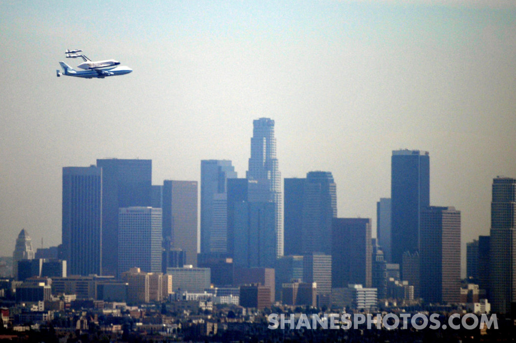 Space Shuttle Endeavour Flies over Los Angeles