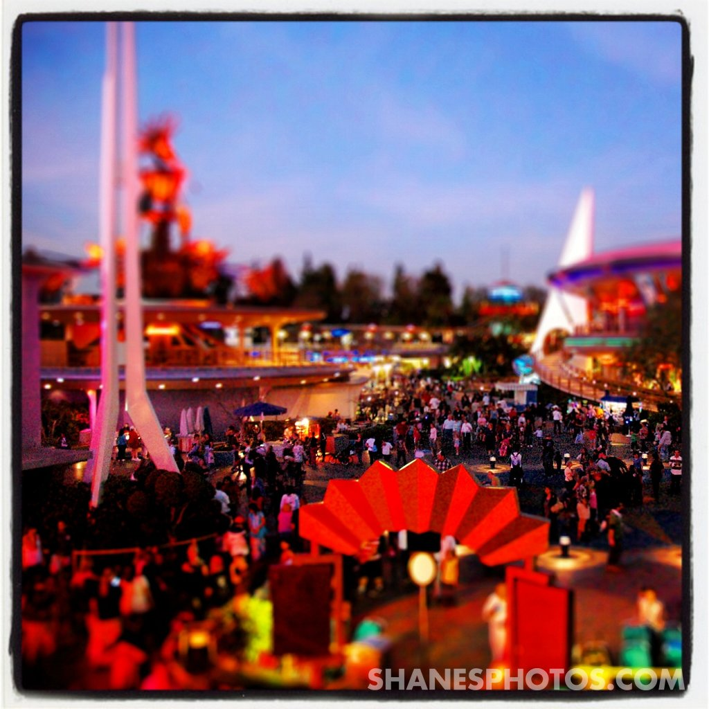 Sunset over Tomorrowland at Disneyland
