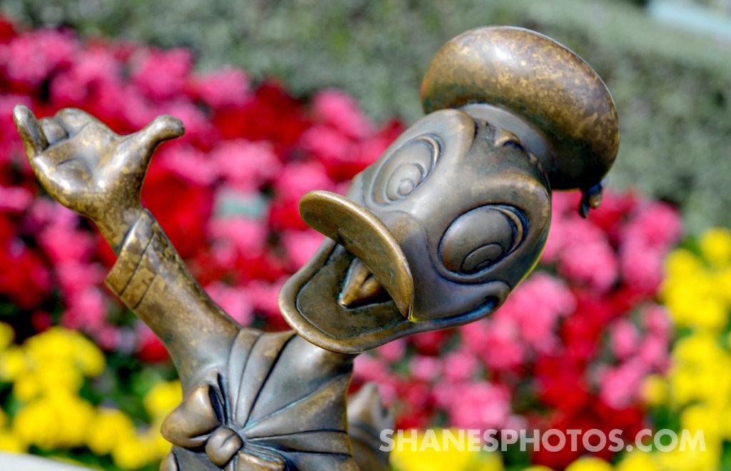 Donald Duck statue in front of Sleeping Bueaty's Castler at Disneyland