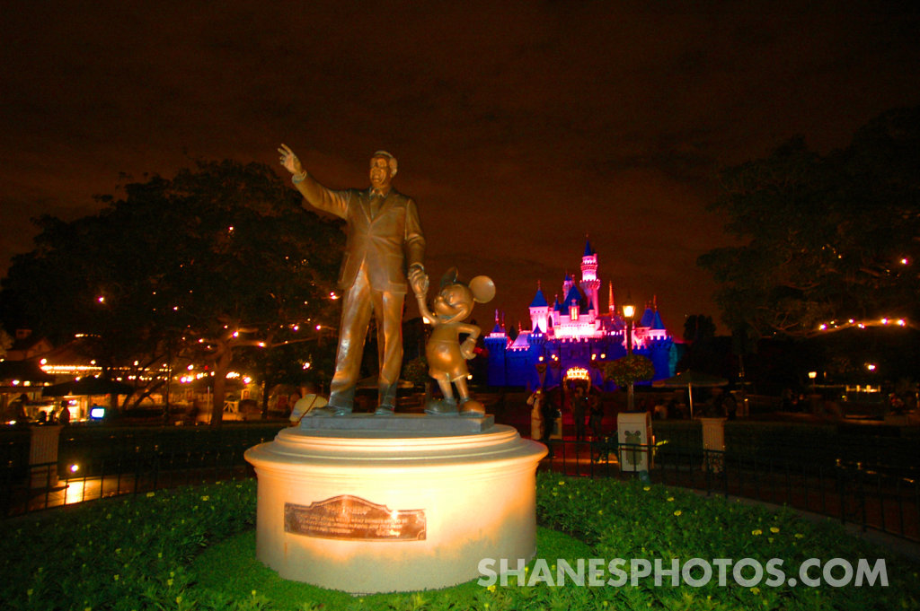 Partners Statue in front of Sleeping Beauty Castle at Disneyland