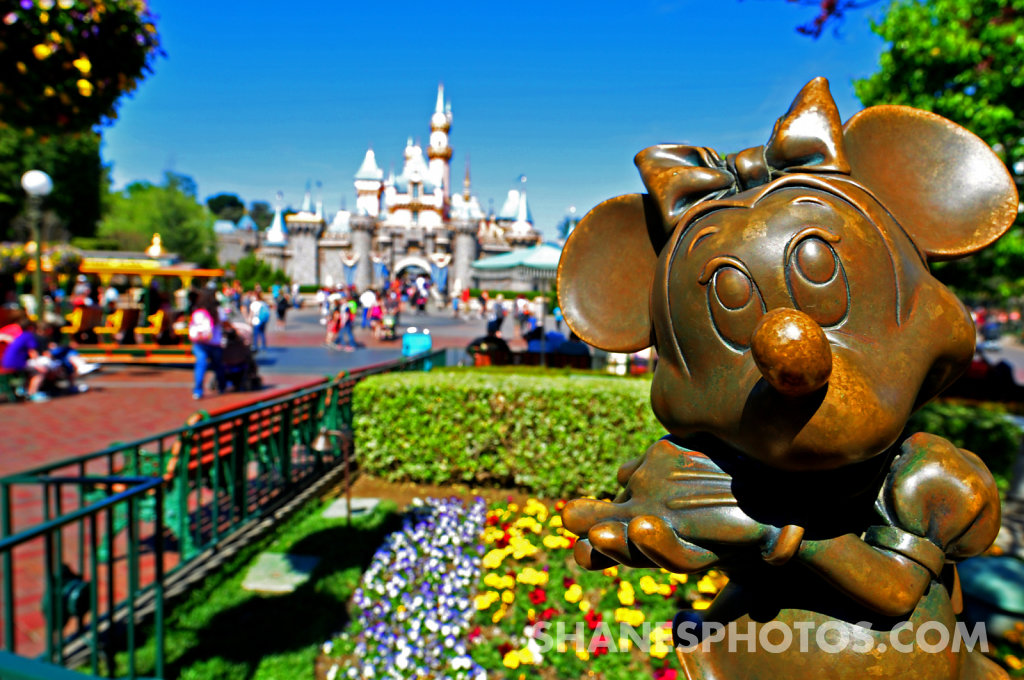 Minnie Mouse Statue in front of Sleeping Beatuy's Castle at Disneyland
