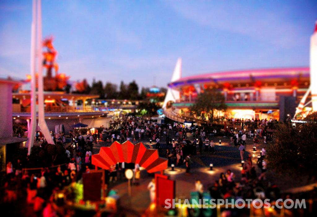 Tomorrowland at Dusk at Disneyland
